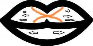 Червило се нанася от средата към ъглите с четчица
